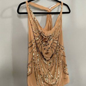 100% SILK TANK TOP. With sequins. Tan Color.BROWN.